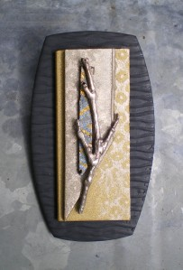 Precious metal clay branch on polymer clay pin