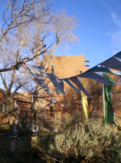 Prayer flags on the wind at the Tibetan Project in Santa Fe.