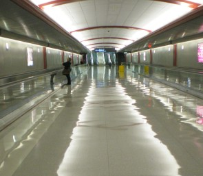 Marie Segal at Dulles Airport being inspired in a river of inspiration called Life.