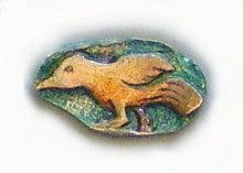 'Tibetan Running Bird', Precious Metal Clay and colored pencil by Meredith Arnold
