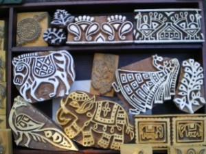 Hand carved wooden stamps from India