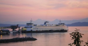 Edmonds Ferry at Sunset in July.
