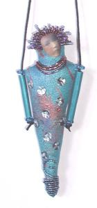 Sequin Girl doll pendant by Meredith Arnold