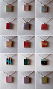 These are pendants made out of the Washi masking tape. Aren't they cool?