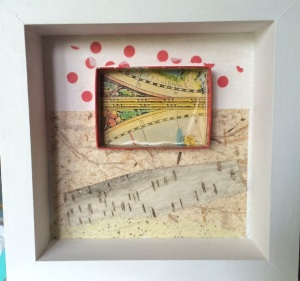 Collage/assemblage with paper, paint, birch bark